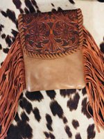 Pancho + Lefty Tooled Leather Fringe Crossbody Purse