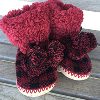 The Billings Buffalo Plaid Pom Pom Slippers (Red + Black)