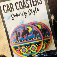 The Neon Cowboy Cactus Car Coaster Set