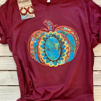 Hello Country Bumpkin Pumpkin Turquoise Graphic Tee (Ships in 5-7 Days)