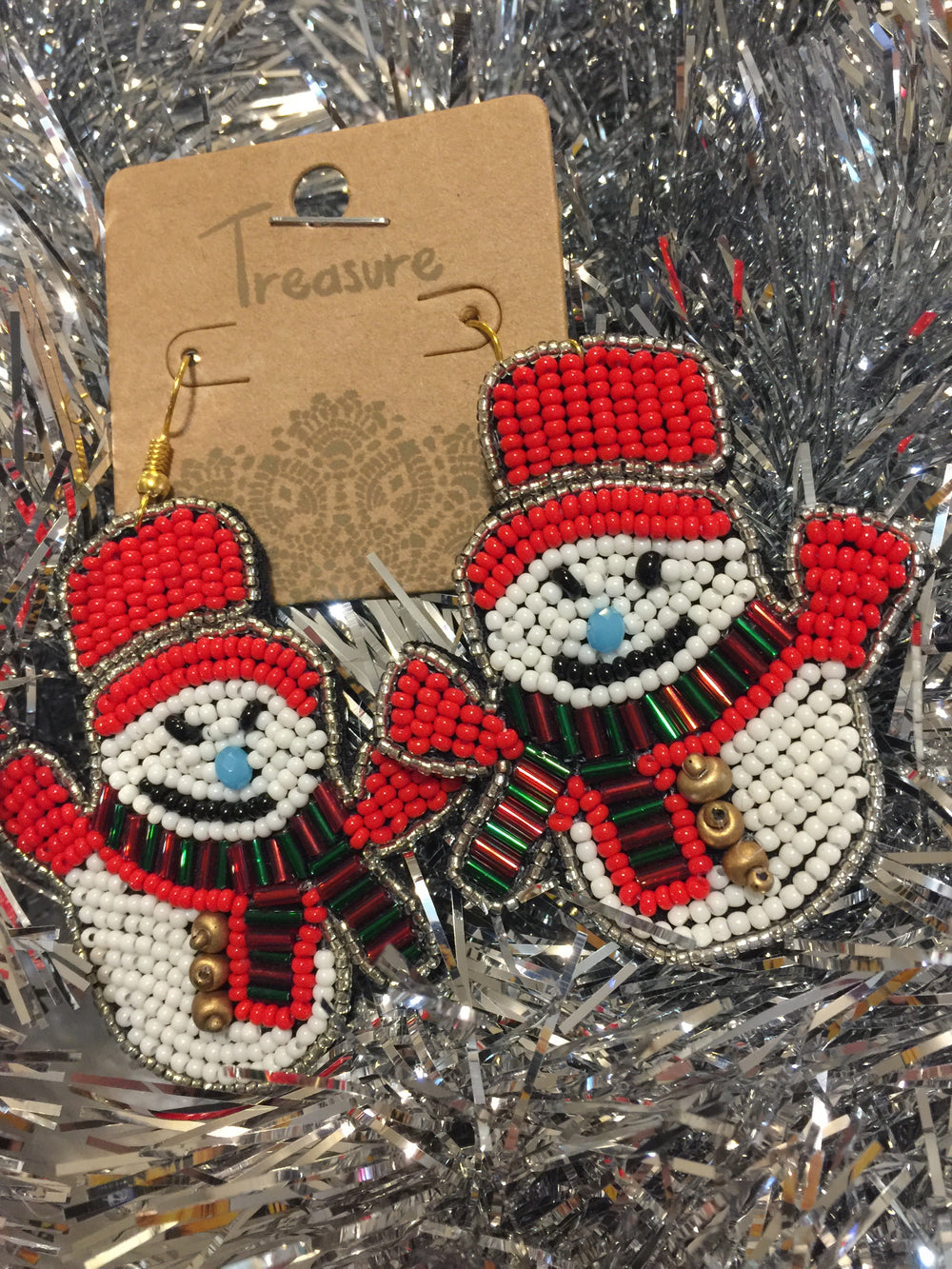 The Beaded Snowman Earrings