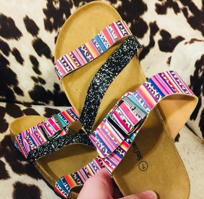 The Knowles Serape + Leopard + Glitter Sparkle Sandals