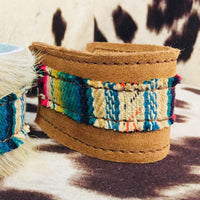 The Oil City Brown Suede + Serape Leather Cuff Bracelet (Made in usa)