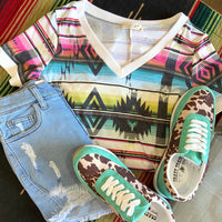 Small Town Girl Aztec Print Multi-Color Top
