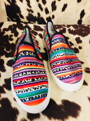 (Read Description) The Sweetwater Serape + Leopard Canvas Slip On Shoes