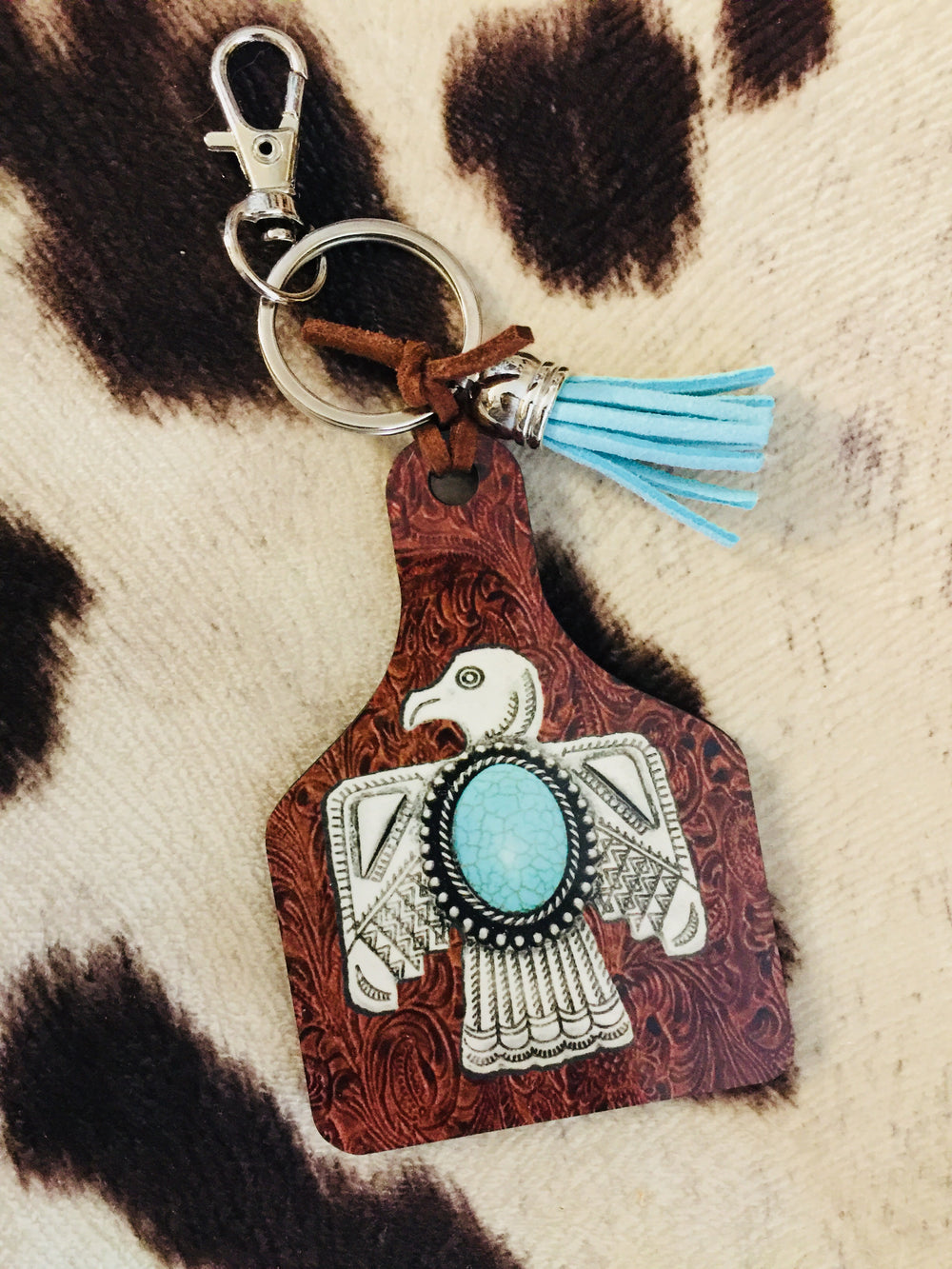 Turquoise Thunderbird Tooled Leather Print Cattle Tag Keychain