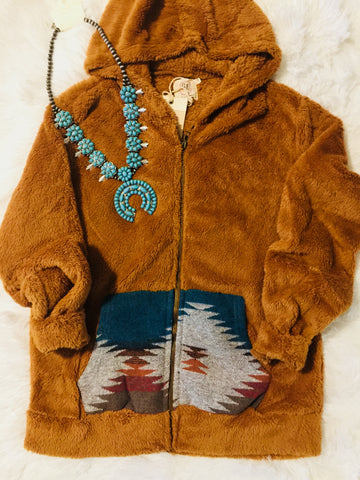 A Cowgirls Dream Aztec Jacket with Pockets (Burnt Orange)