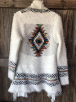 The Jezebel Multi-Color Aztec Print Fuzzy Cardigan (Ships by 9/24)