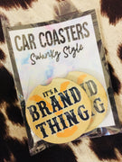 It's A Brand Thing Yellowstone Car Coaster Set