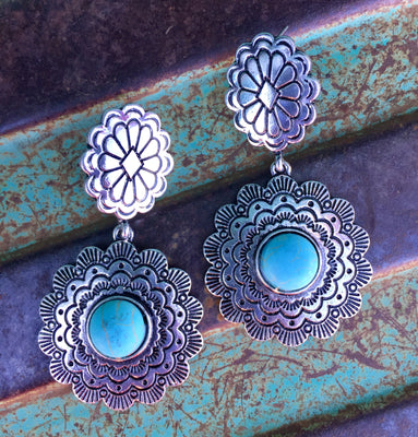 The Wynnewood Silver & Turquoise Pendant Earrings
