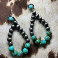Large Navajo Gray + Turquoise Earrings