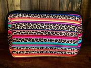 Serape & Leopard Print Makeup Bag With Zipper