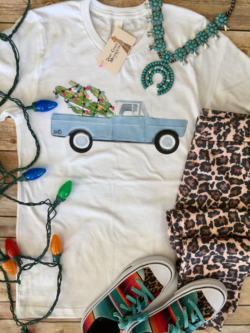 The Christmas Cactus Pickup Truck Graphic Tee