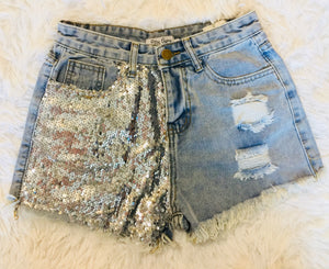 The Booneville Sequin Sparkle Denim Distressed Shorts