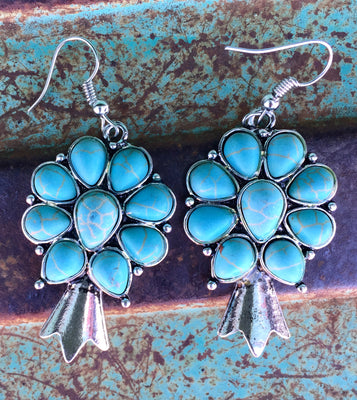 The Frederick Turquoise & Silver Squash Blossom Earrings