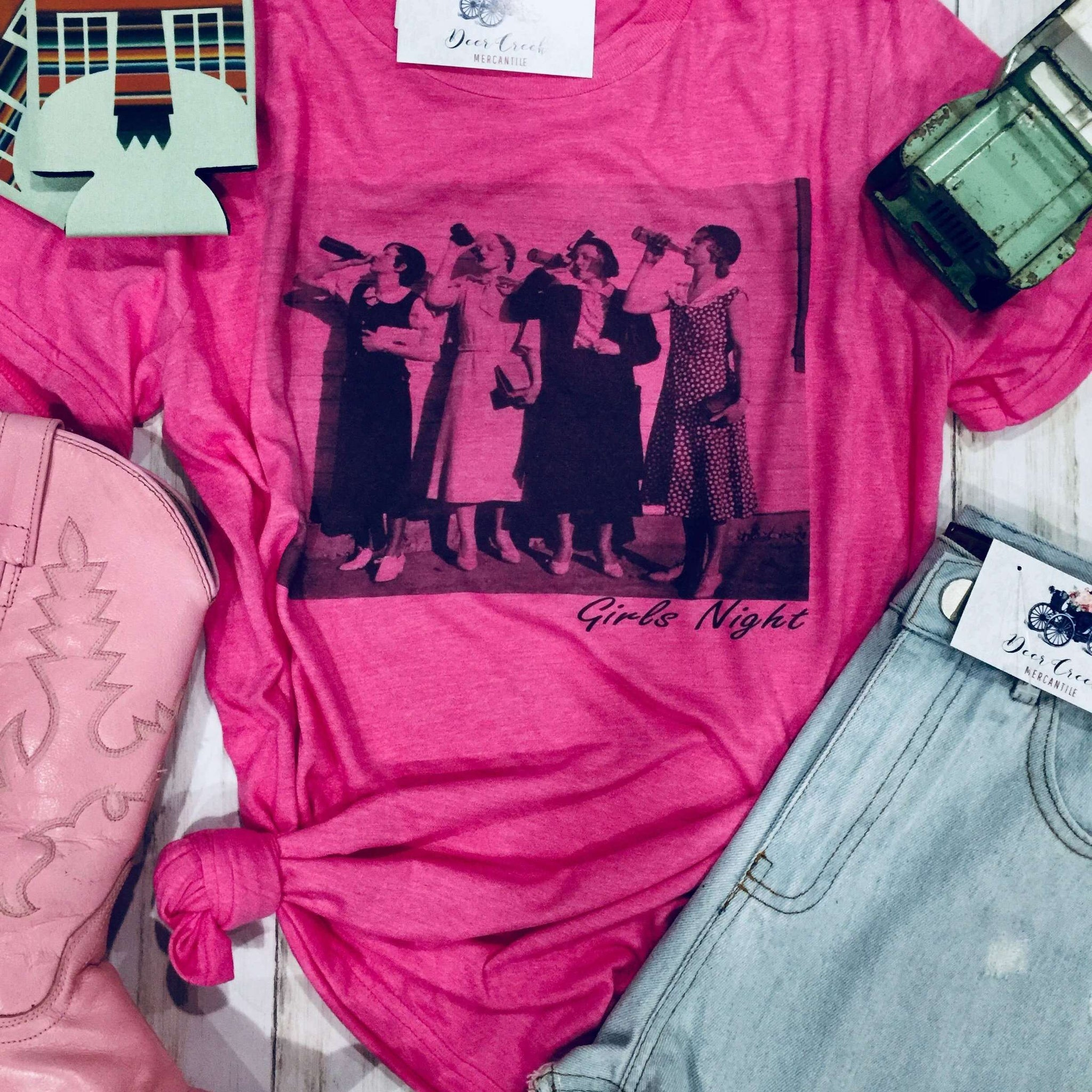 THE VINTAGE PARTY GIRLS HOT PINK GRAPHIC TEE