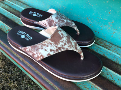 The Alva Cowhide Print Sandals