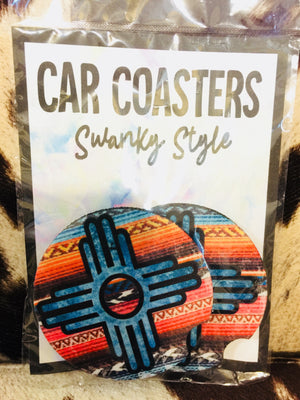 Serape Symbol Car Coaster Set