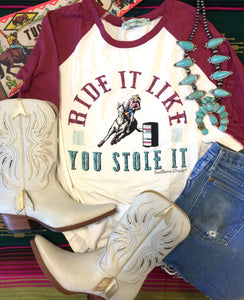 The Crazybend Ride It Like You Stole It Rodeo Graphic Top