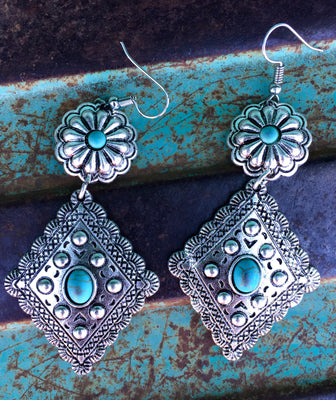 The Bristow Silver Dangle Earrings With Turquoise Stones