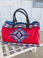The Broken Bow Aztec Weekender Tote Bag (Duffle) Red