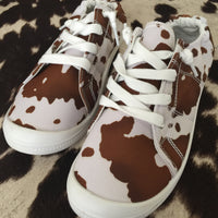 Get Outta Dodge Cow Print Sneakers (Brown & White)
