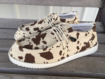 Old Cowtown Cow Print Slip On Shoes