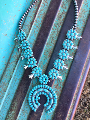 The Okemah Turquoise Squash Blossom Necklace