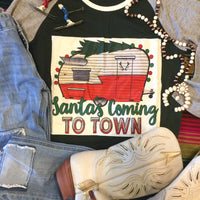 Santa's Camper Village Christmas Graphic Top