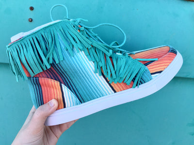 The Cheyenne Serape + Fringe High Top Shoe