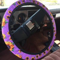 The Crystal River Purple Sunflower Steering Wheel Cover