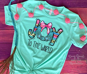 Joy To The World Turquoise Christmas Graphic Tee