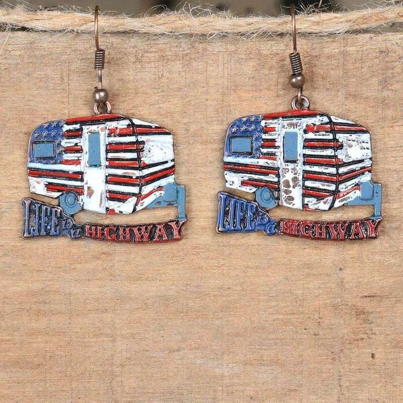 THE ROUTE 66 LIFE IS A HIGHWAY VINTAGE CAMPER EARRINGS