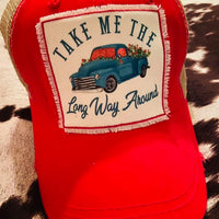 The Long Way Around Pickup Truck Baseball Ball Cap (Red)