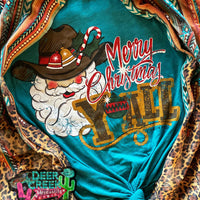 The Country Cowboy Christmas Graphic Tee (Turquoise)