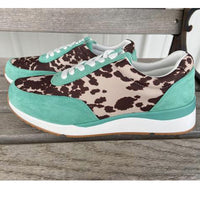 Out To Pasture Cowhide Print Tennis Shoes (Kicks)