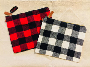 Buffalo Plaid Pouch - Makeup Bag - Accessories Bag