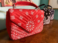 The Rosalie Quilted Bandana Crossbody Purse (Red)