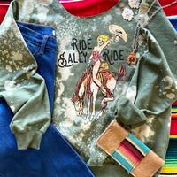 Ride Sally Ride Cowgirl Bleached Sweatshirt