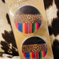 Serape/Black/Leopard Print Car Coasters (Set of 2)