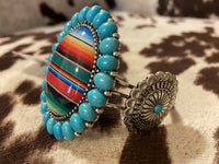 Serape Print Bubble Glass Concho Bracelet