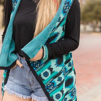 Walkin' After Midnight Turquoise Aztec Vest