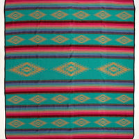 The Las Cruces Southwestern Serape Queen Size Bedspread (Turquoise, Pink, Purple, Green)