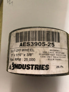 "Aes 3"" X 1/16"" Cut-Off Wheels 25 Pack"