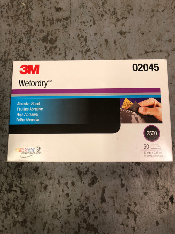 3M Wetordry Sand Paper 2500 1/2 Sheet Single