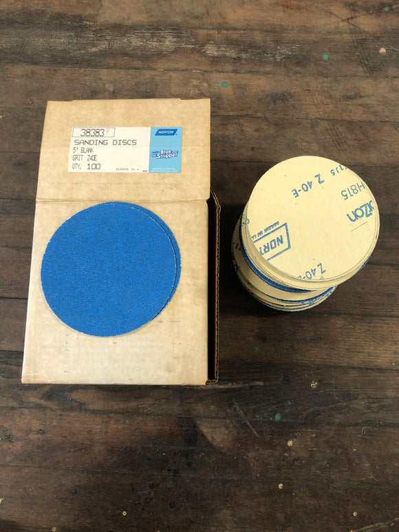 "Norton 38383 5"" 40G 100Ct Plain Sanding Discs"