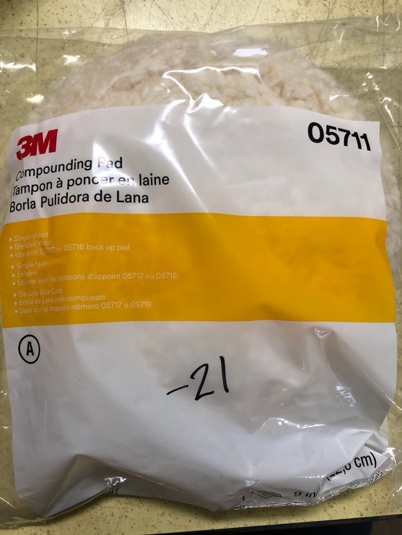 "3M 05711 9"" Wool Compounding Pad"
