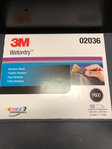 3M 2036 Wetordry sand paper 600 single sheet