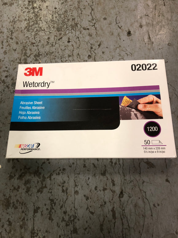 3M Wetordry Sand Paper 1200 1/2 Sheet Single