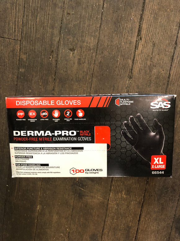 SAS Black nitrile gloves xl